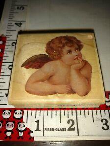 Daydreaming cherub, rubber stampede,918,wooden,rubber,stamp