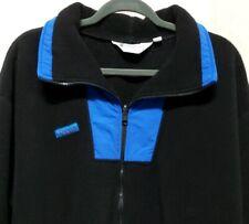 Vintage Columbia Mens Sz XL Fleece Jacket Black Blue Full Zip Pockets USA Made
