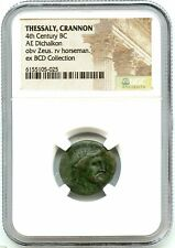 Ancient Greece Bronze AE Dichalkon, Thessaly Crannon 350 BC, Nice NGC Genuine!