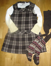 Red Sound + Zara Gr 110 Designer Kombi: kariertes Kleid + Langarmshirt, Wolle