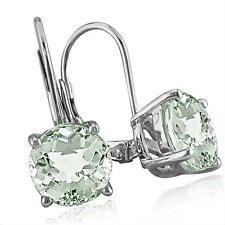 STERLING SILVER 5CT ROUND GREEN AMETHYST LEVERBACK DROP EARRINGS