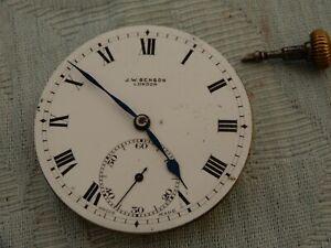 "Original ""J.W.Benson"" pocket watch movement watchmakers estate find, ticking A/F"