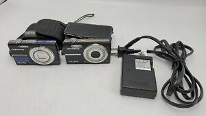 Lot Olympus FE-240 7.1MP Digital Camera w/ Battery & Charger - Works + Extras