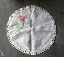 Vintage Arts and Crafts Round Embroidered Linen-Cotton Doily