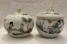 "Two Antique Chinese Famille Rose Pots for Tea with lid 3"" high"