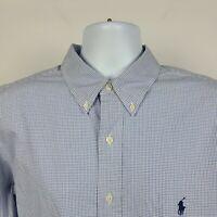 Ralph Lauren Classic Fit Blue Check Mens Dress Button Shirt Size 17.5 34/35