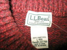 L.L.BEAN, MEN'S LAMBS WOOL SWEATER, SIZE: LARGE, COLOR: BURGUNDY, NEW, VALUE:$12
