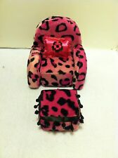 PINK LEOPARD PRINT DOLL CHAIR WITH OTTOMAN FOR MONSTER HIGH,BARBIE & BRATZ DOLLS