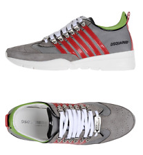 Dsquared2 gray leather sneakers with stripes size US10 made in Italy $690