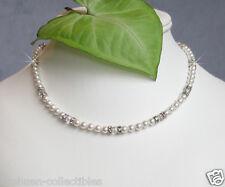 w Swarovski Austrian Crystal Pearl ~Bridal Wedding Sterling Silver~ Necklace New