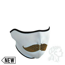 Brown Mustache on White Neoprene Half Face Mask Biker Costume Motocross Ski ATV