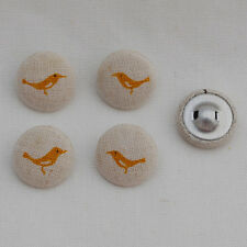 4 Japanese Linen Fabric Covered Buttons - 20mm - Birds