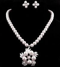 Set Collier di perle orecchini strass accessori da Sposa Collana FIORI