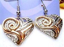Art Deco,vintage,retro cutout heart hook earrings X33G