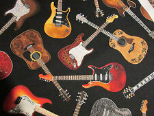 GUITAR CLASSIC ROCK GUITARS MUSIC NOTES BLACK COTTON FABRIC BTHY