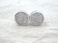 "925 STERLING SILVER Micro Setting Cz ""7mm Flat"" Curve Studs Earrings -Girl Women"