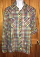 Salt Valley Western Pearl Snap Roll Tab Sleeve Shirt Multi Color Plaid Sz XL EUC