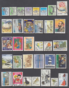 Ireland Sc 780/1126 used. 1990-98 issues, 33 better singles, sound, F-VF group.