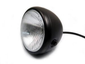 """6 3/4"""" Matt Black Motorbike Headlight 12V H4 55W Cafe Racer Project - BLEMISHED"""