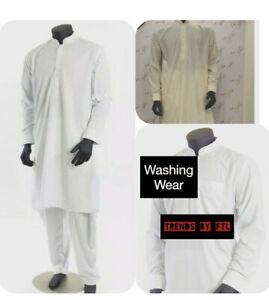 Shalwar Kameez Mens Al-Qaiser Plain Band Collar White/Cream Sizes  S,M,L,XL