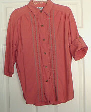The Villager Women's  Button Down Embroidered Blouse 3/4 Rolled Sleevesl  Small