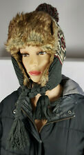 MEN WOMEN KNITTED FAUX FUR KNITTED TRAPPER LINED SKI WINTER EAR FLAP HAT Nov13-3