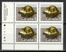 Canada #1157 3¢ Mammal Definitive - Muskrat Ll Inscription Block Mnh