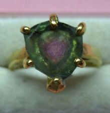 3.50ct Watermelon Tourmaline 10x9mm ( 24k Vermeil ) Silver 925 Ring skaisMY17
