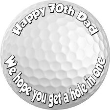 """GOLF BALL """"REAL EDIBLE ICING"""" ROUND CAKE TOPPER IMAGE PARTY FROSTING SHEET"""