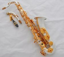 Professional Satin Silver Plated C Melody Sax Saxophone Abalone Key 2 Neck New