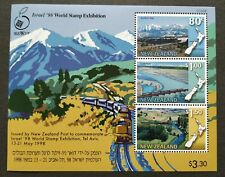 1998 New Zealand Railway Trains Israel World Stamp Exhibition Mini-Sheet MS MNH