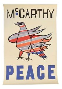 """McCarthy """"Peace"""" Vintage Poster Lithograph by Ben Shahn, SIGNED"""