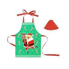 Set of 2 Santa Fun Kids Boys Girls Kitchen Cooking Apron & Hat Set by Ladelle