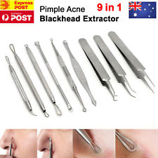 9pcs Blackhead Remover Extractor Tool Pimple Blemish Popper Comedone Kit Clip