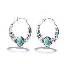 925 Silver Vintage Women Jewelry FashionTurquoise Gem Party Dangle Drop Earrings