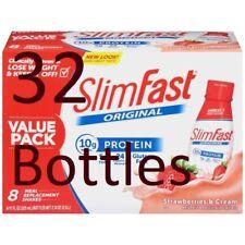 32 Bottles-11 Oz. SlimFast Original Strawberries & Cream Meal Replacement Shakes
