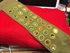 Boy Scouts-  vintage merit badge sash (25-cut edge badges)
