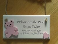 personalised new baby plaque sign gifts #2