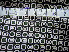 """Black & White & Green Geometric Polyester Satin Soft Fabric 60"""" Wide by Metre"""
