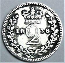 Großbritannien 2 Pence 1838 Silber Die junge Königin Victoria vz / xf & Kapsel