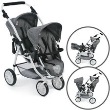 Bayer Chic 2000 Zwillingspuppenwagen Tandem-Buggy Vario (Jeans Grey)