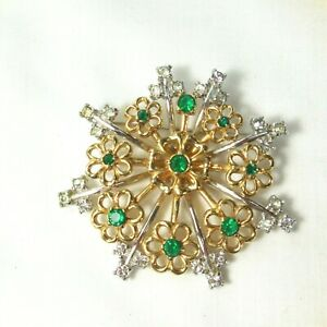"Vintage Rhinestone & Green Stone Snow Flake Brooch  2"" Pin"