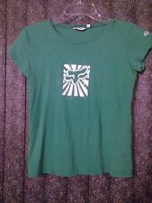 ~tav~ Fox Racing Embellished Top ~ Bright Green White Logo Sequins ~ Medium M ~