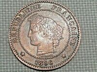 France Third Republic Copper 2 Centime 1896 A Ceres Nice Grade Red Brown