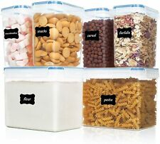 Airtight Food Storage Containers 6 Pieces - Plastic PBA Pantry for Sugar, Flour