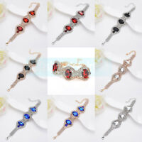 Women Elegant Fashion Rhinestone Crystal Bracelet Adjustable Bangle Cuff Jewelry