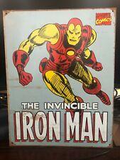 "Marvel ""Iron Man""  - Retro Metal Panel Tin Sign Wall Art 12.5"" X 16"""