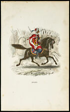 1844 - Spahis - Gravure uniforme militaire. Cavalerie Algérie