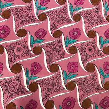 Vtg Silk Blend Material Fabric Pink Green Brown MCM Flower Power Retro Geometric