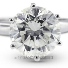 3.53ct. F-SI3 V.Good Round Certify Diamond 18K Gold Classic Engagement Ring 3.6g